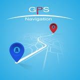 GPS navigeringskärm Vektor Illustrationer