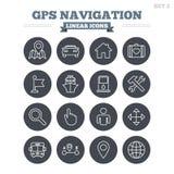 GPS nawigaci liniowe ikony ustawiać Cienieje kontur Obrazy Royalty Free
