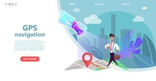 GPS nawigacja, postać z kreskówki mężczyzna chodzi na mapie miasto definitywny punkt trasa ilustracji