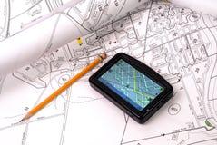 GPS no mapa Imagens de Stock Royalty Free