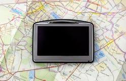 GPS no mapa Fotografia de Stock Royalty Free