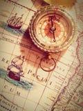 GPS no mapa velho Imagens de Stock Royalty Free
