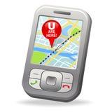 GPS no telefone de pilha Fotografia de Stock