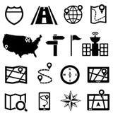 Gps- och navigeringsymboler Arkivfoto