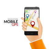 GPS phone navigation - mobile gps and tracking concept. Hand holding a mobile phone with city map Stock Photos