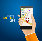 GPS phone navigation - mobile gps and tracking concept. Hand holding a mobile phone with city map Royalty Free Stock Photos