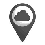 Gps pin icon image. Gps pin with cloud icon image vector illustration design Stock Image