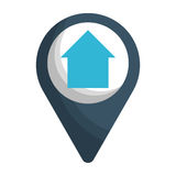 Gps pin icon image. Gps pin with house icon image vector illustration design Royalty Free Stock Photo