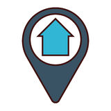 Gps pin icon image. Gps pin with house icon image vector illustration design Stock Images