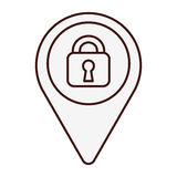 Gps pin icon image. Gps pin with safety lock  icon image vector illustration design Stock Images