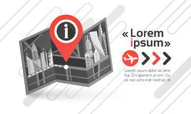 Gps Pin Map Over City View Cityscape Achtergrondnavigatiehorizon met Exemplaar Ruimteinfographic Stock Fotografie