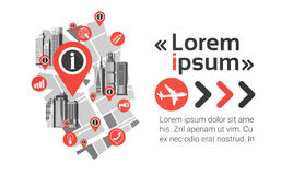 Gps Pin Map Over City View Cityscape Achtergrondnavigatiehorizon met Exemplaar Ruimteinfographic Stock Afbeeldingen