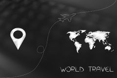 Gps pin next to world map with airplain taking off in between. Exploring the globe conceptual illustration:  gps pin next to world map with airplain taking off Royalty Free Stock Image