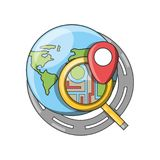 Travel and navigation design. Gps and planet of travel navigation and route theme Vector illustration Royalty Free Stock Photos