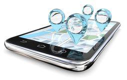 Magnifier GPS Search. Royalty Free Stock Photos