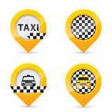 Gps pointers with taxi specific elements Royalty Free Stock Photography