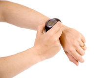 A GPS / pulse watch for running stock photos
