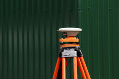 Gps receiver antenna. The gps receiver antenna is mounted on a tripod Stock Photography