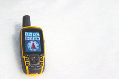 GPS Receiver. On the   snow Royalty Free Stock Photography