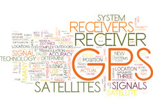 Gps Receivers Explained Word Cloud Concept. Gps Receivers Explained Text Background Word Cloud Concept Royalty Free Stock Photography