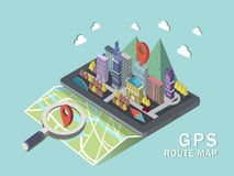 GPS route map 3d isometric infographic Stock Image