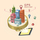 GPS route map 3d isometric infographic. With tablet showing beautiful city scene Stock Photo