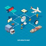 GPS Route Map Flowchart. With navigation symbols on blue background isometric vector illustration Royalty Free Stock Image