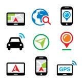 GPS, samochodowa nawigacja, podróży ikony ustawiać Obraz Stock