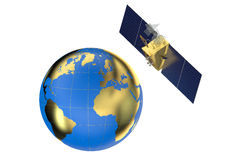 GPS satellite and earth. Isolated on white background Royalty Free Stock Photos