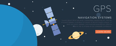 GPS Satellite on the space. Flat vector illustration Royalty Free Stock Photos