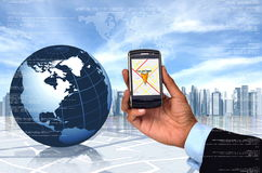 GPS with smart phone. Conceptual image of Global Positioning System (GPS) with a smart phone