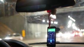 GPS som kör den taxy bilen arkivfilmer