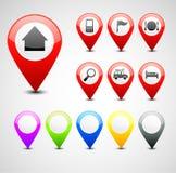 GPS stiftuppsättning stock illustrationer