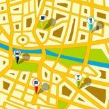 Gps-Straßenkarte Stockbilder