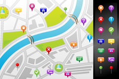GPS street map. A vector illustration of a GPS street map with usable icons Stock Photo