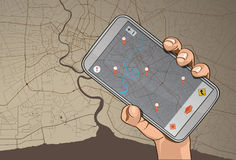 GPS sur le mobile Photographie stock libre de droits