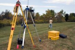 GPS survey. Land Surveyor at Work, spring time Stock Image
