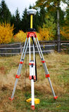 GPS surveying. This is a GPS system used for surveying land, forest Stock Photo