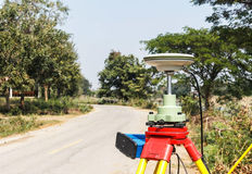 GPS surveying. On the road stock image