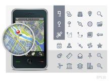 gps-symboler har kontakt med telefonen Arkivfoton