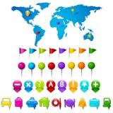 gps-symboler planerar världen Arkivfoto