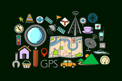 GPS system concept for web design template Royalty Free Stock Photos