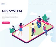 GPS System for Tracking Location Isometric Artwork Concept royalty free illustration
