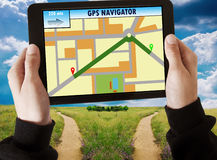 Gps in the tablet Royalty Free Stock Photo