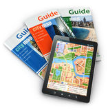 GPS tablet pc navigation  and travel guide books. Royalty Free Stock Photography