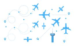 GPS tag for airplanes, satellites, with help of tower. GPS tag for airplanes, set airplane dotted route line, air travel. Plane flights, line icon of the built royalty free illustration