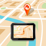 GPS technology laying of a route travel, tourism navigation Royalty Free Stock Image