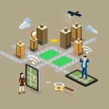 GPS in telefono cellulare che mostra la mappa di itinerario Immagini Stock Libere da Diritti