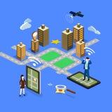 GPS in telefono cellulare che mostra la mappa di itinerario Fotografia Stock Libera da Diritti
