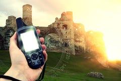 GPS tenu dans la main photographie stock libre de droits